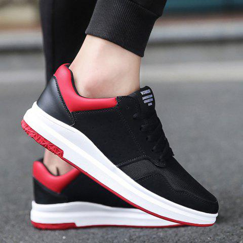 Outfits Breathable Mesh Faux Suede Casual Shoes BLACK RED 44