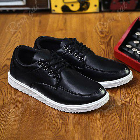 Chic Lace Up Faux Leather Casual Shoes - 40 BLACK Mobile