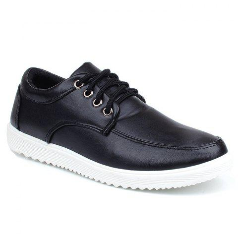 Hot Lace Up Faux Leather Casual Shoes - 40 BLACK Mobile
