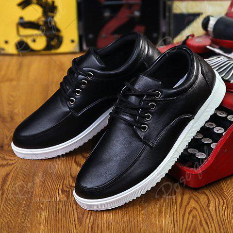 Latest Lace Up Faux Leather Casual Shoes - 40 BLACK Mobile