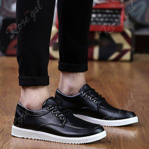 Cheap Lace Up Faux Leather Casual Shoes - 40 BLACK Mobile