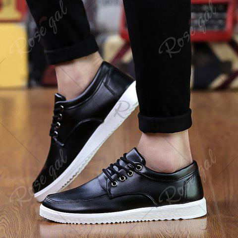 Outfit Lace Up Faux Leather Casual Shoes - 40 BLACK Mobile