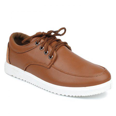 Trendy Lace Up Faux Leather Casual Shoes - 43 BROWN Mobile