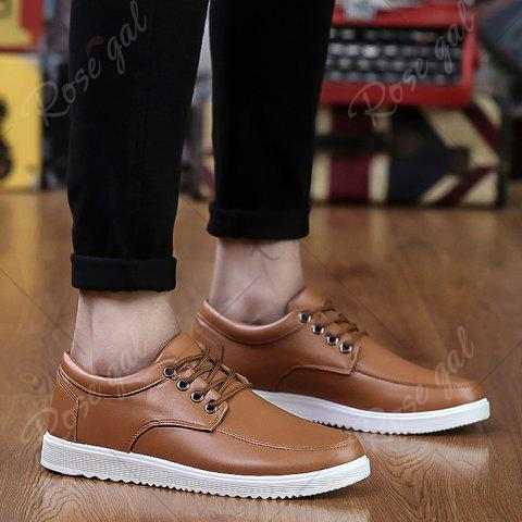 Hot Lace Up Faux Leather Casual Shoes - 43 BROWN Mobile