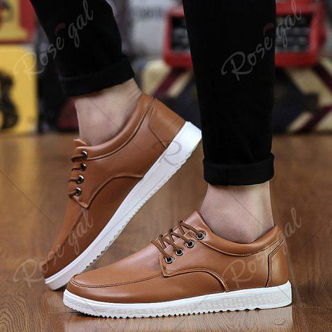 Shop Lace Up Faux Leather Casual Shoes - 43 BROWN Mobile