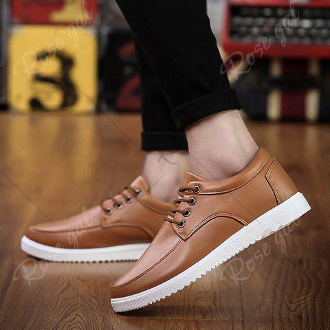 Best Lace Up Faux Leather Casual Shoes - 43 BROWN Mobile