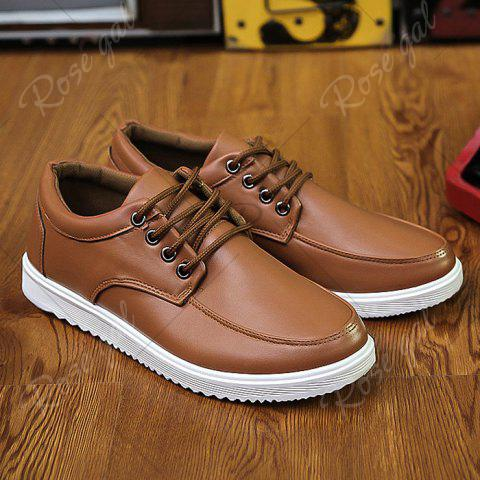 Cheap Lace Up Faux Leather Casual Shoes - 43 BROWN Mobile