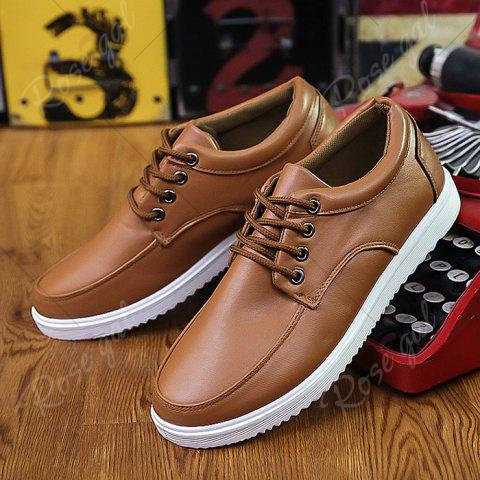 Affordable Lace Up Faux Leather Casual Shoes - 43 BROWN Mobile
