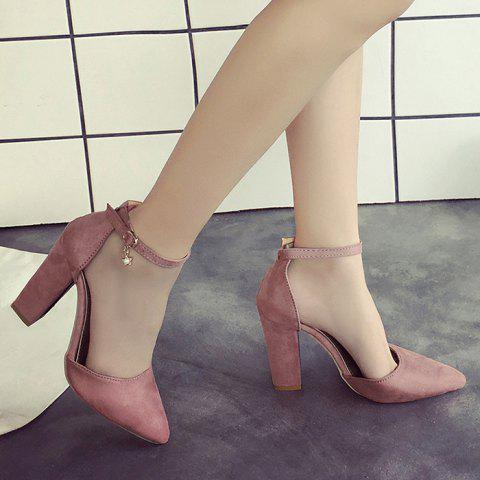 Affordable Suede Ankle Strap Pumps PINK 39