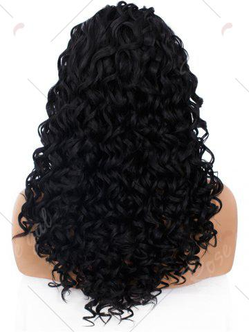 Discount Adiors Long Shaggy Side Part Deep Curly Lace Front Synthetic Wig - BLACK  Mobile
