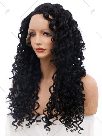 Online Adiors Long Shaggy Side Part Deep Curly Lace Front Synthetic Wig - BLACK  Mobile