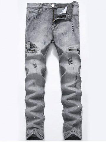 Sale Paint Splatter Zip Detail Ripped Jeans - 32 GRAY Mobile