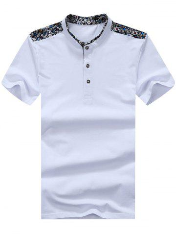 Shops Floral Trim Half Button Mandarin Collar Tee WHITE XL