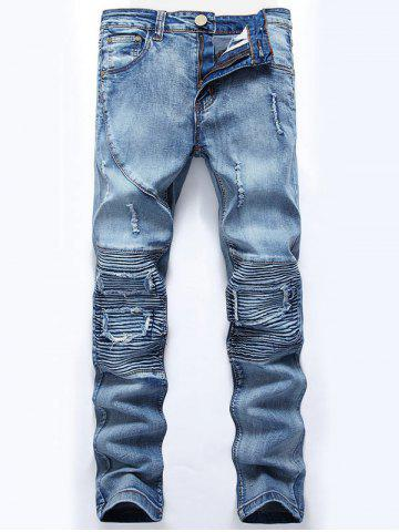 Store Ripped Slim-Fit Biker Jeans - 32 LIGHT BLUE Mobile
