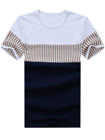 Trendy Striped Panel Color Block Tee