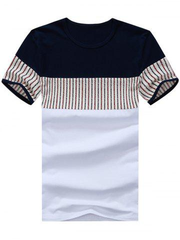 Fancy Striped Panel Color Block Tee WHITE 2XL