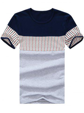 Latest Striped Panel Color Block Tee GRAY 3XL