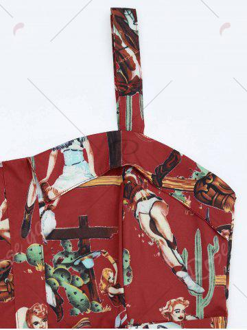 Cheap Printed A Line Sundress - S RED Mobile