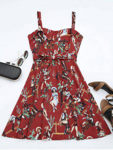 Fancy Printed A Line Sundress - S RED Mobile