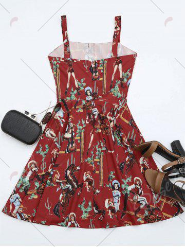 Fashion Printed A Line Sundress - S RED Mobile