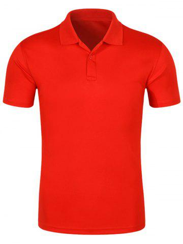 Shop Half Button Quick Dry Plain Polo Shirt RED XL