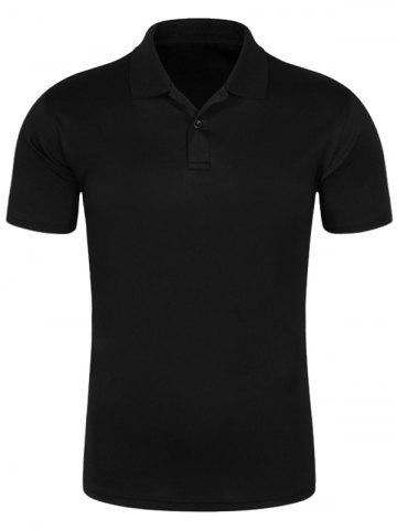 Latest Half Button Quick Dry Plain Polo Shirt BLACK 2XL