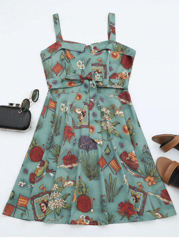 Trendy Printed A Line Sundress - S GREEN Mobile