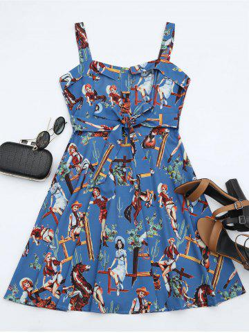 Store Printed A Line Sundress - L BLUE Mobile