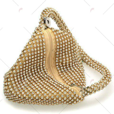 Online Geometric Shaped Rhinestone Evening Bag - GOLDEN  Mobile