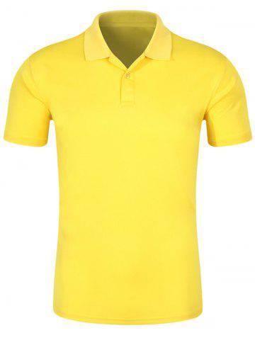 Latest Half Button Quick Dry Plain Polo Shirt YELLOW XL