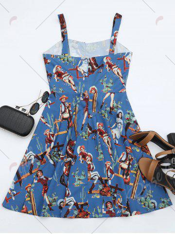 Latest Printed A Line Sundress - S BLUE Mobile