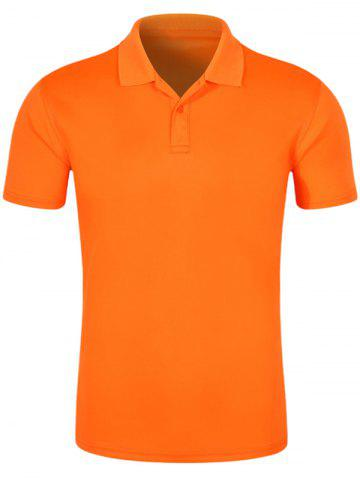 Online Half Button Quick Dry Plain Polo Shirt ORANGE 3XL