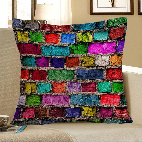 Home Decor Colorful Brick Print Pillow Case - Colorful - 45*45cm