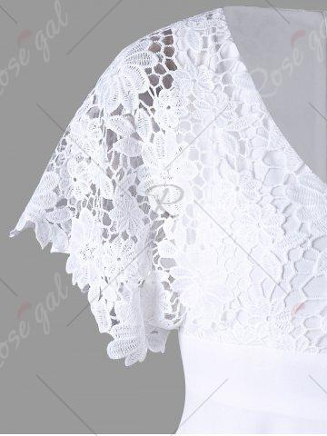 Hot Lace Panel High Low Flowy Dress - M WHITE Mobile