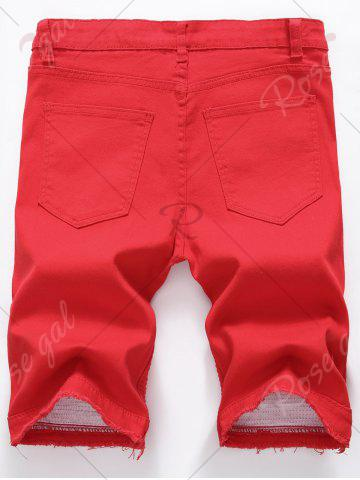 New Ripped Biker Denim Shorts with Zip Details - 40 RED Mobile