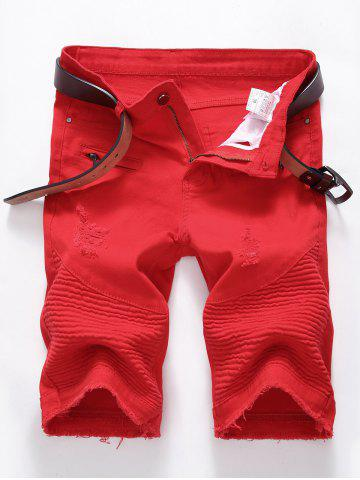 Affordable Ripped Biker Denim Shorts with Zip Details - 40 RED Mobile