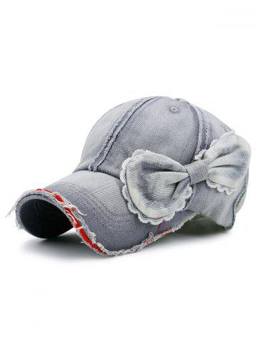 Chic Bowknot Artificial Sanding Denim Baseball Hat - LIGHT GRAY  Mobile