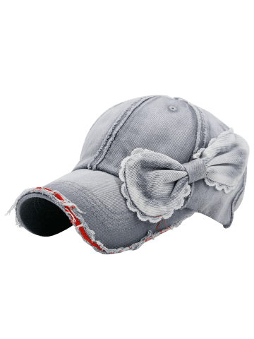 Hot Bowknot Artificial Sanding Denim Baseball Hat - LIGHT GRAY  Mobile