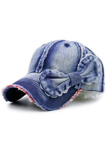 Outfits Bowknot Artificial Sanding Denim Baseball Hat DEEP BLUE