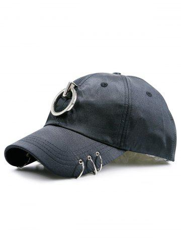 Fashion Metallic Circles Embellished Baseball Cap - BLACK  Mobile