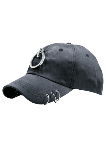 Hot Metallic Circles Embellished Baseball Cap - BLACK  Mobile
