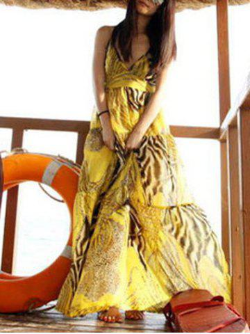 Outfits Spaghetti Strap Flowy Summer Maxi Dress YELLOW ONE SIZE