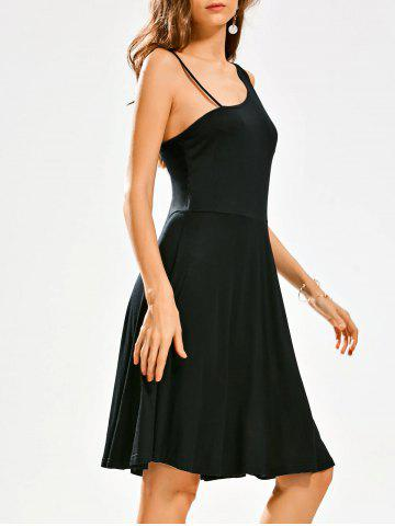 Fashion Open Back High Waist Little Black Dress BLACK L