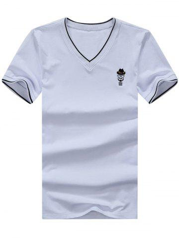 Latest V Neck Embroidered Tee WHITE XL