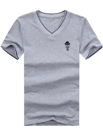 Unique V Neck Embroidered Tee GRAY 2XL