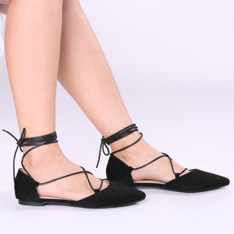Lace Up Suede Pointed Toe Flats - Black - 40