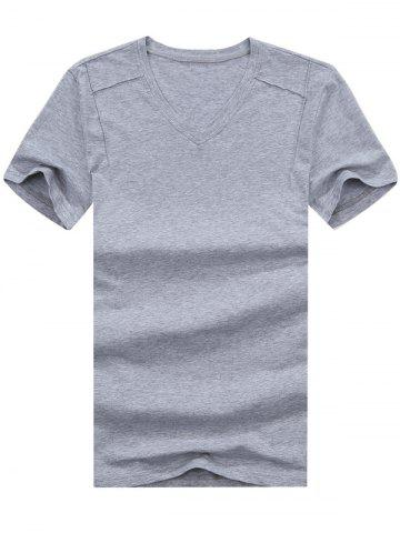 Outfit Short Sleeve V Neck Basic Tee GRAY XL