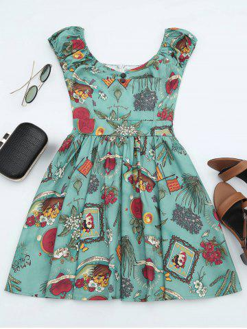 Hot Printed Mini Dress - XL GREEN Mobile