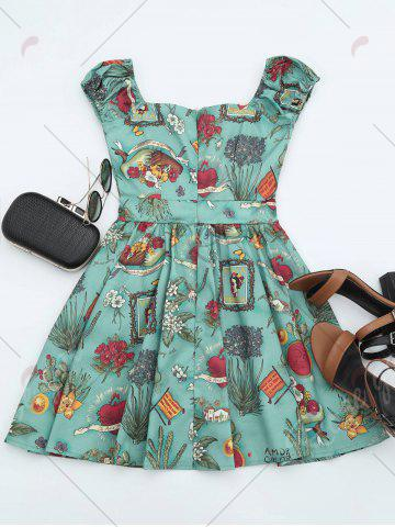 Fashion Printed Mini Dress - XL GREEN Mobile