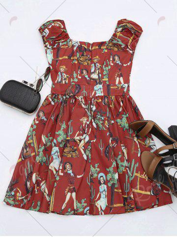 New Printed Mini Dress - XL RED Mobile